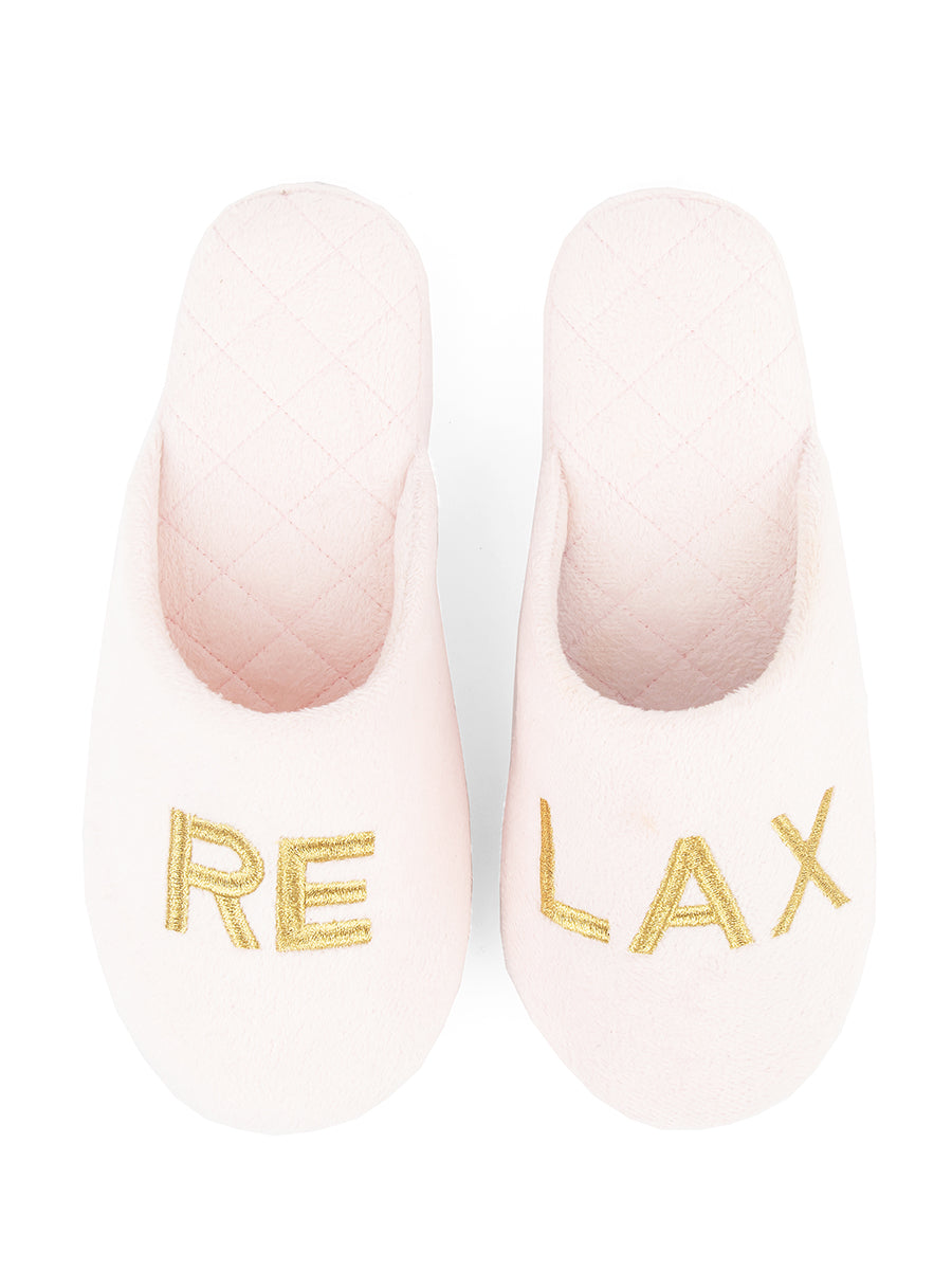 Womens Pink/Gold Relax Embroidered Slippers