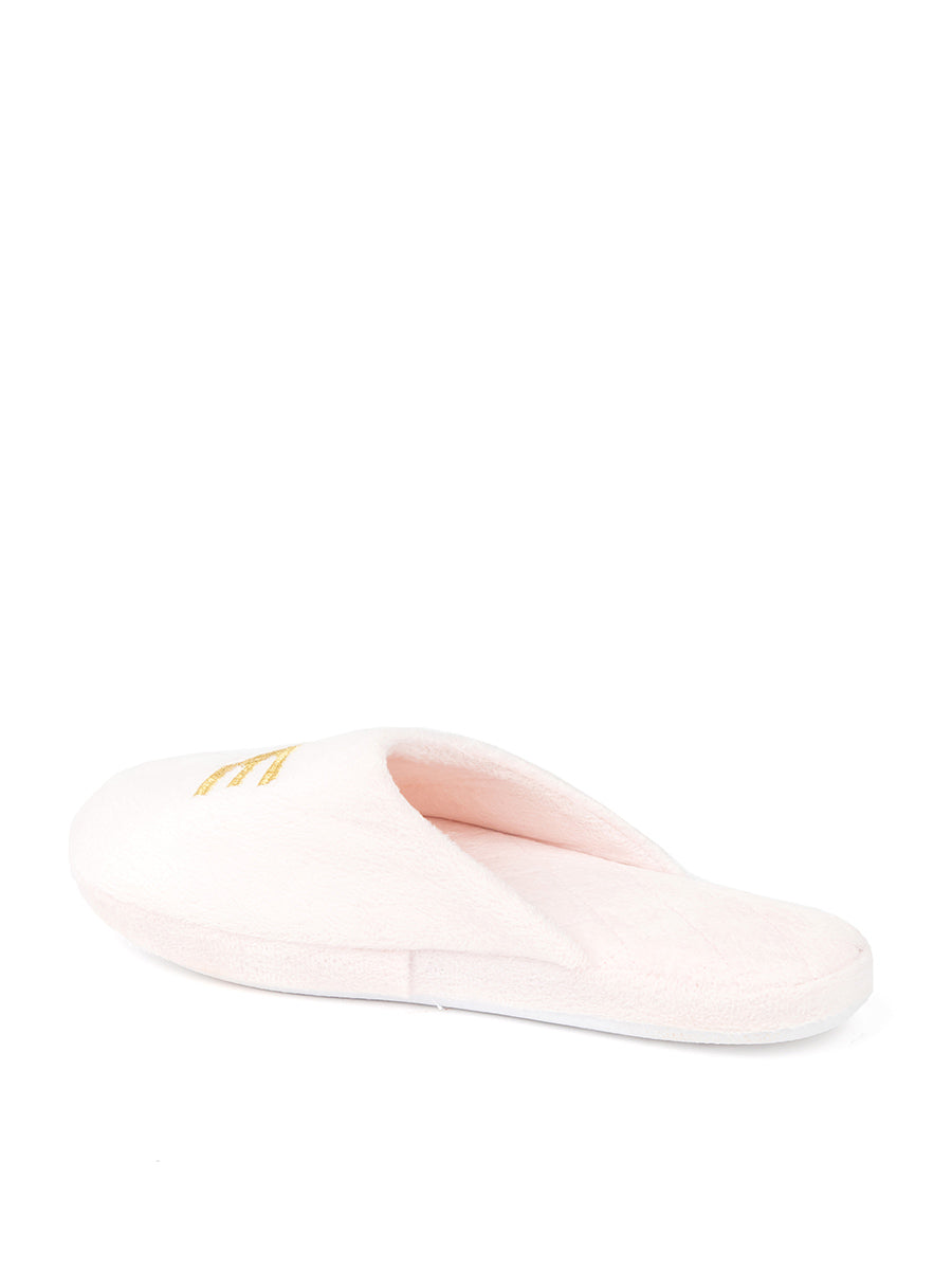Womens Pink/Gold Relax Embroidered Slippers 2