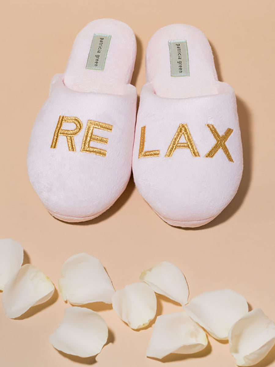 Womens Pink/Gold Relax Embroidered Slippers 4