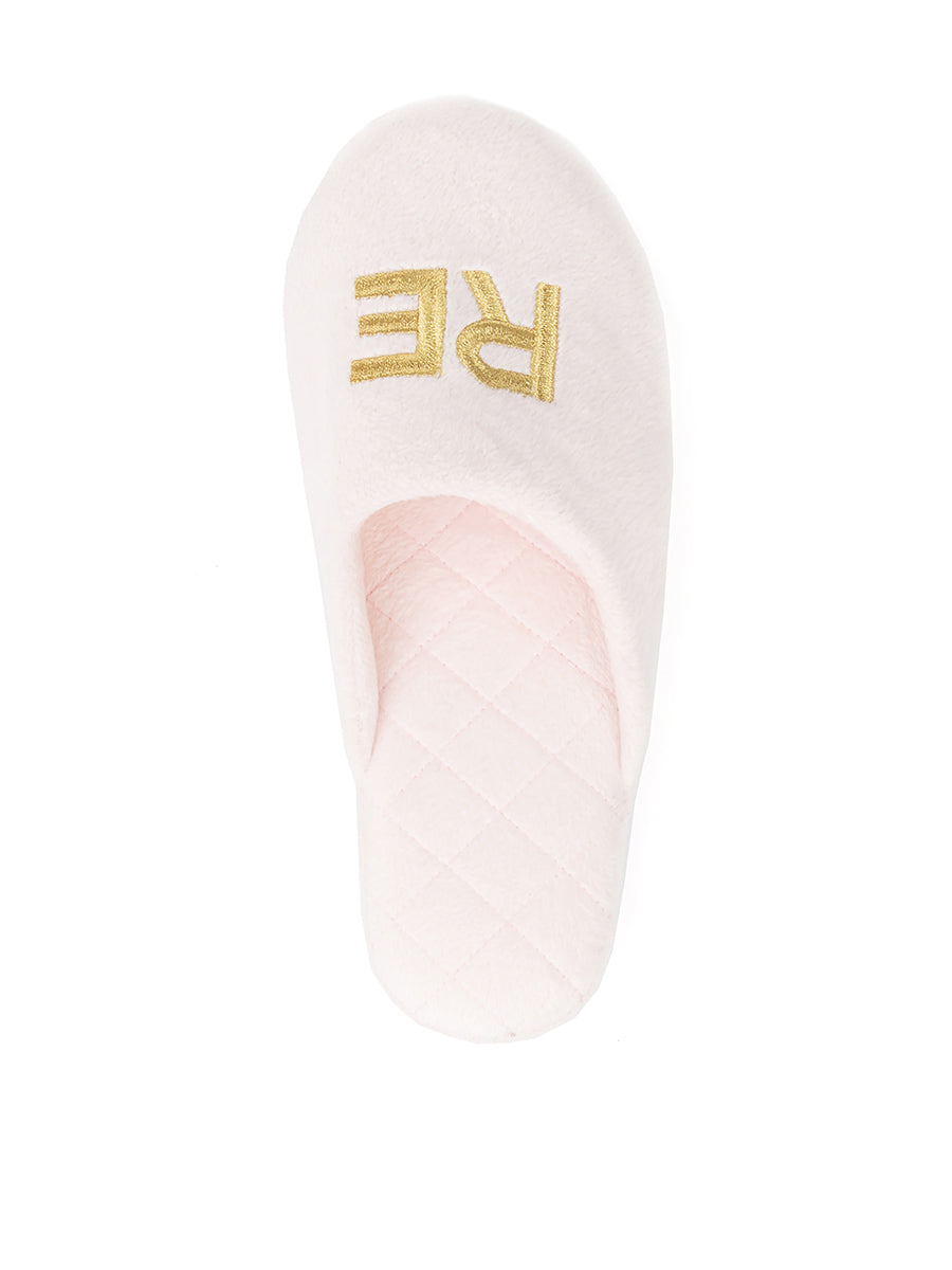 Womens Pink/Gold Relax Embroidered Slippers 7