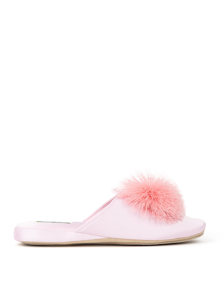 Womens Pink Cathy Satin Slipper 4