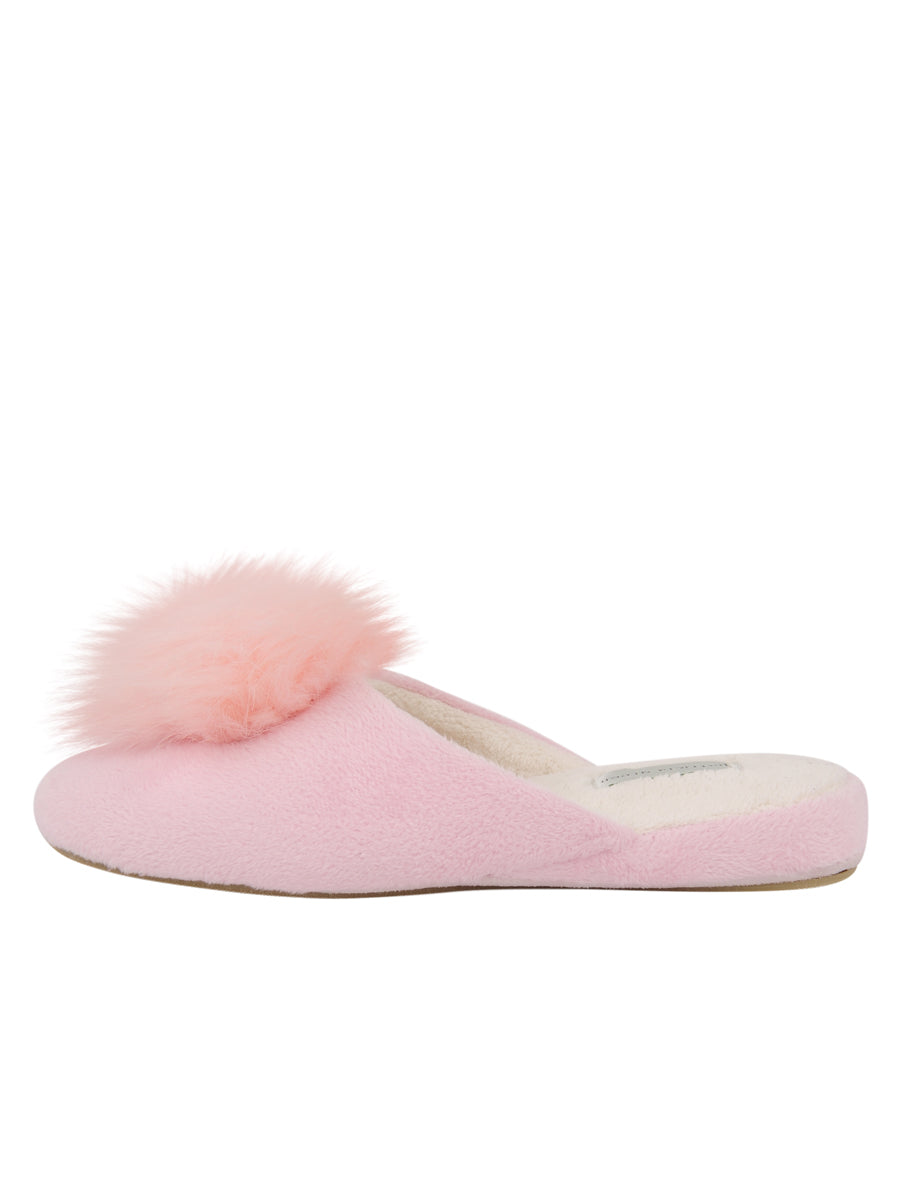 Womens Pink Pretty Pouf Slipper 6