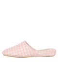 Womens Pink Sari Silk Check Slipper 6