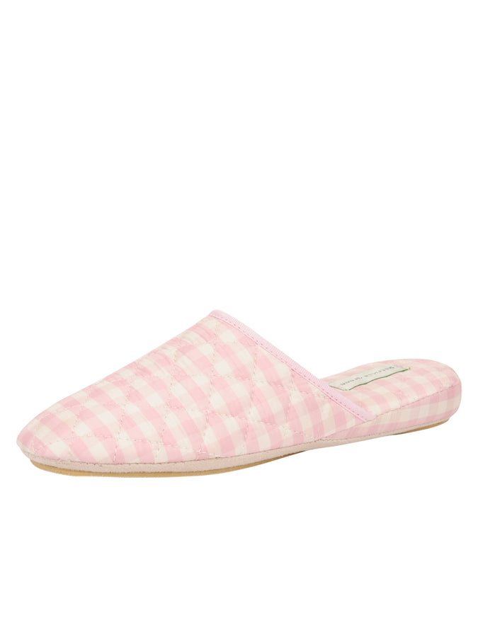 Womens Pink Sari Silk Check Slipper
