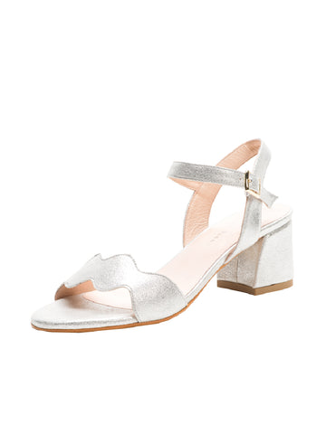 Womens Silver Metallic Gina Block Heeled Sandal