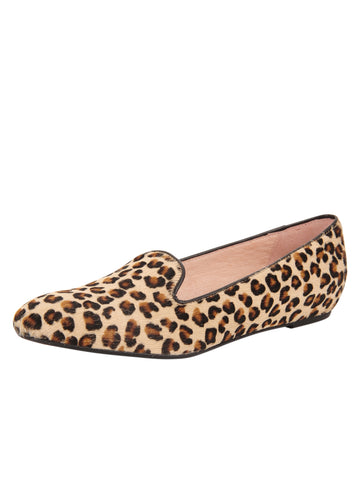 Womens Tan Leopard Waverly Smoking Slipper Flat