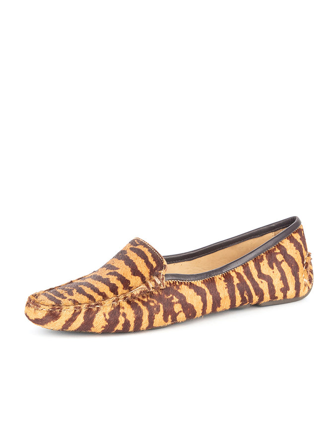 Womens Tan & Brown Tiger Haircalf Jillian Driving Moccasin