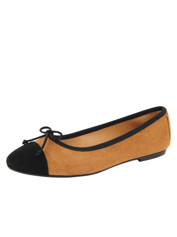 Womens Tobacco/Black Suede Gia Ballet Flat