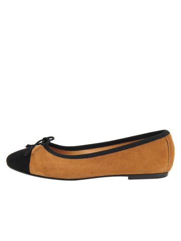 Womens Tobacco/Black Suede Gia Ballet Flat 4 Alternate View