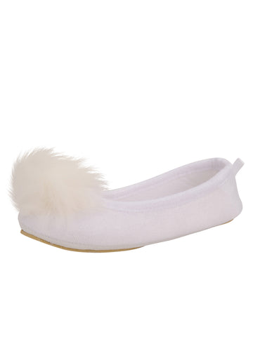 Womens White Meghan Faux Fur Pom Slipper