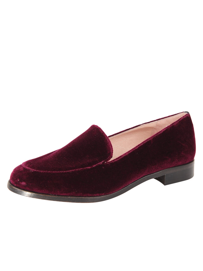 Womens Wine London Velvet Loafer