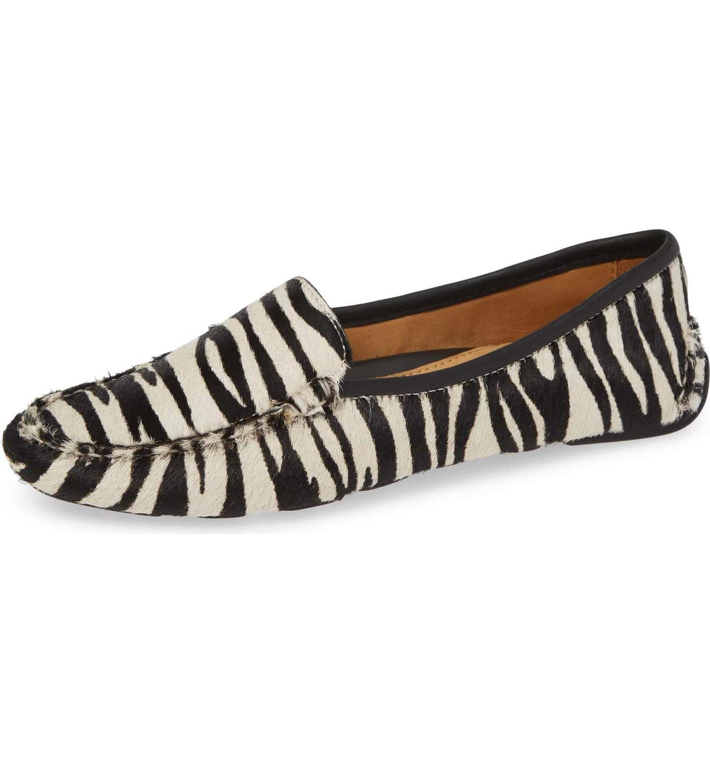 Womens Zebra Haircalf Jillian Driving Moccasin