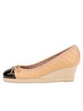 Womens Beige/Black Just Quilted Wedge Espadrille 6