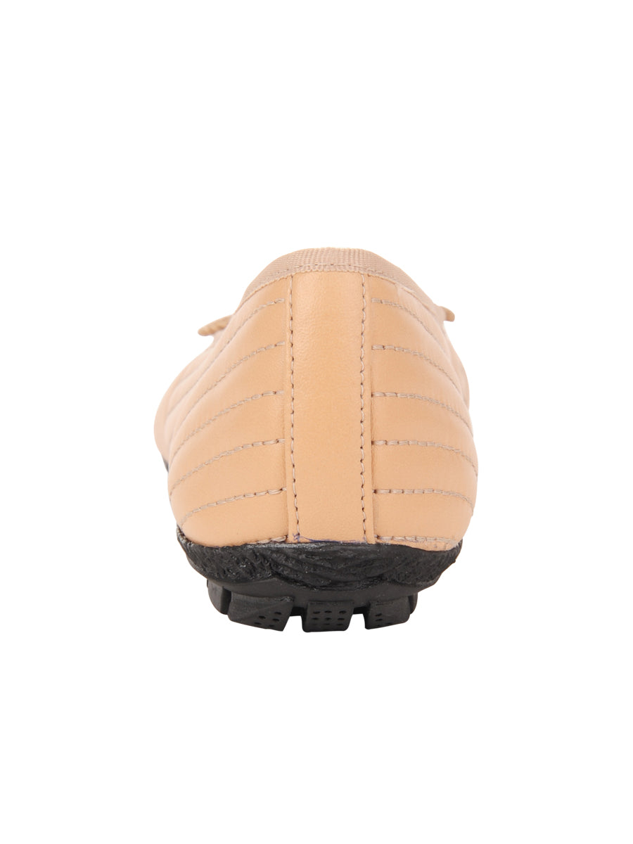 Womens Beige/Black Crush Quilted Leather Ballet Flat 2