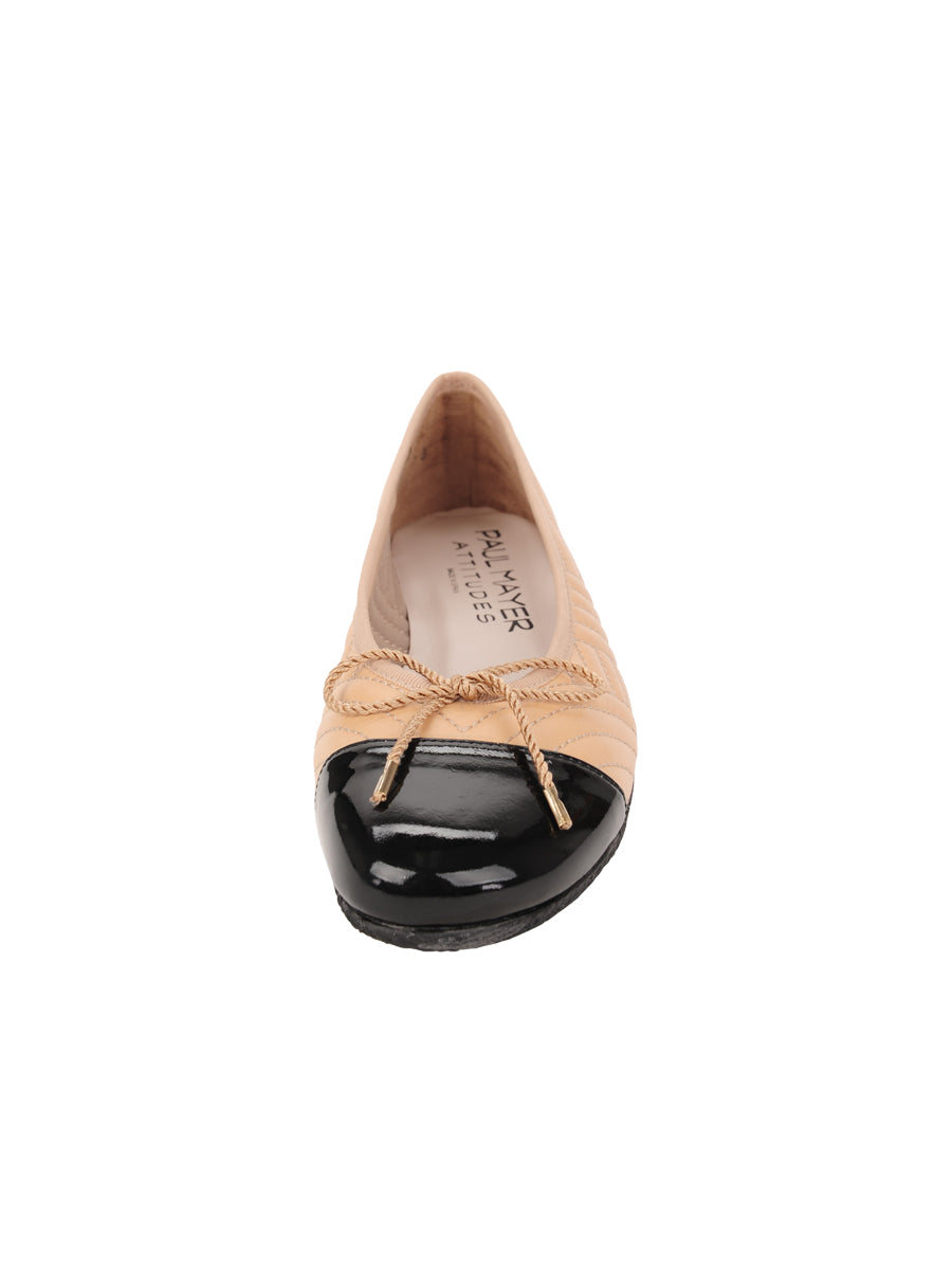 Womens Beige/Black Crush Quilted Leather Ballet Flat 4