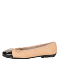 Womens Beige/Black Crush Quilted Leather Ballet Flat 6