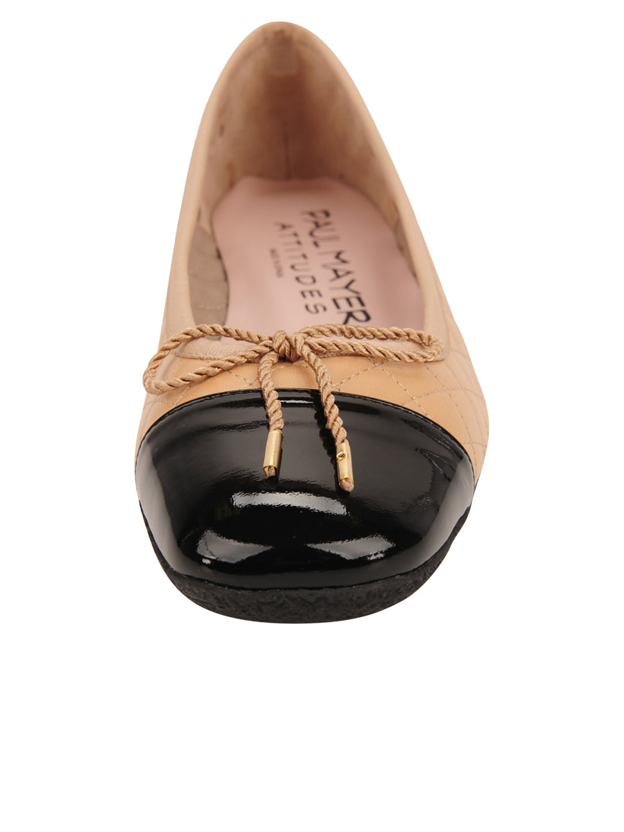 Womens Beige/Black Galant Square Toe Ballet 4
