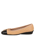 Womens Beige/Black Galant Square Toe Ballet 6