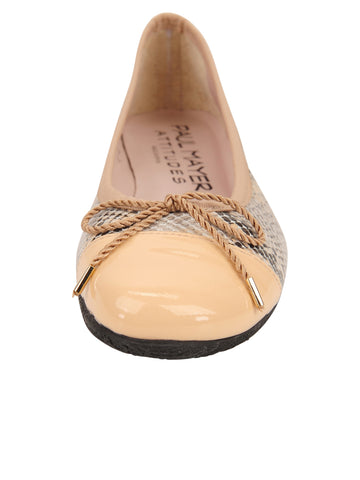 Womens Beige Snake Candy Ballet Flat 4 Alternate View