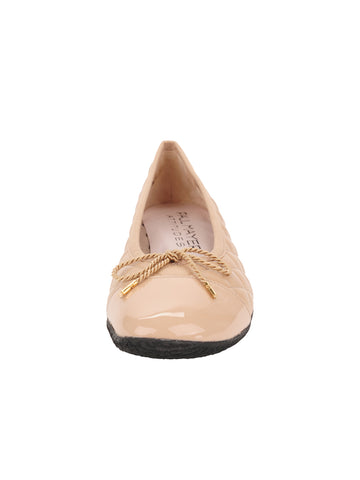 Womens Beige Cozy Quilted Leather Ballet Flat 4 Alternate View