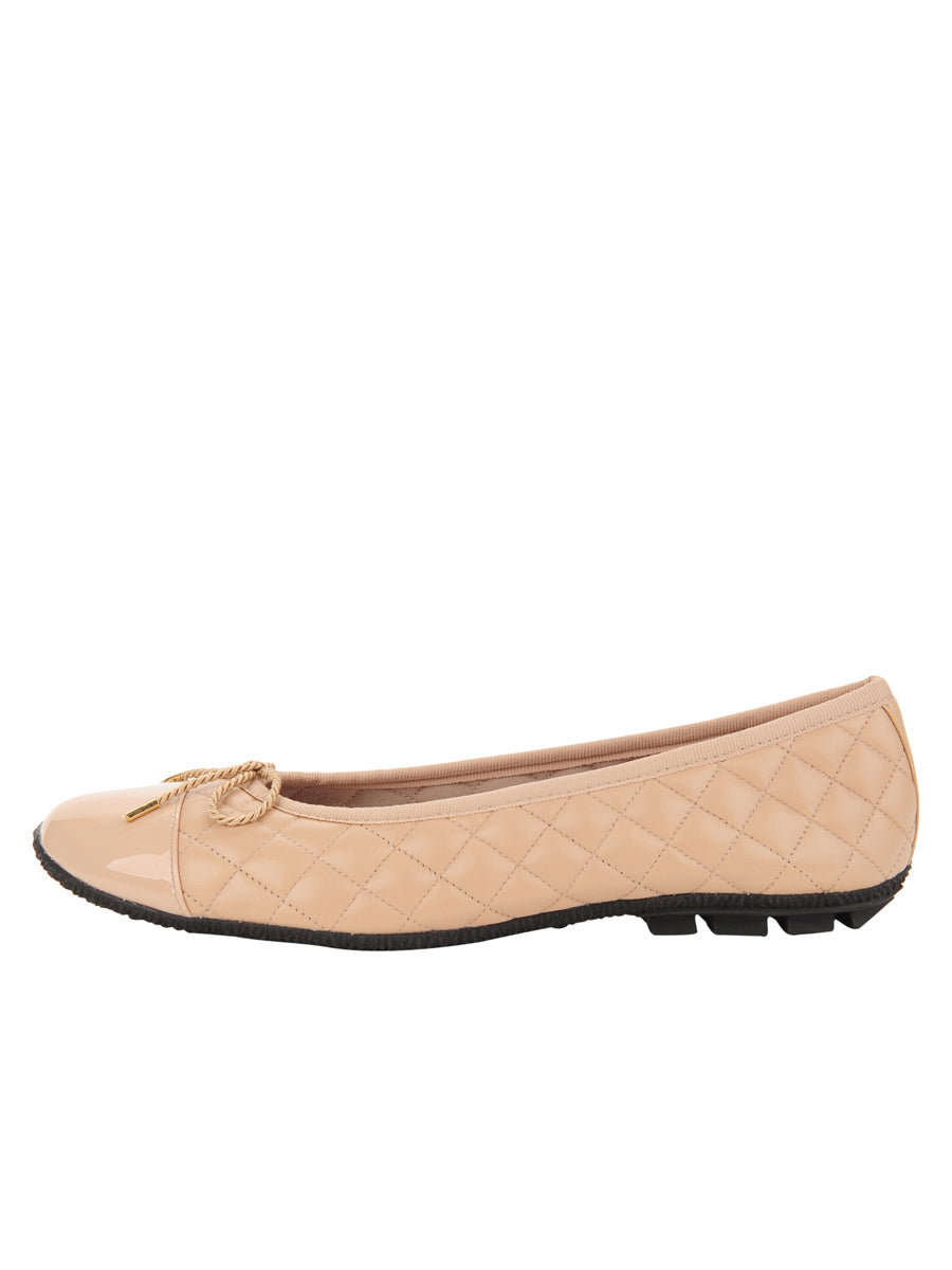 Womens Beige Cozy Quilted Leather Ballet Flat 6