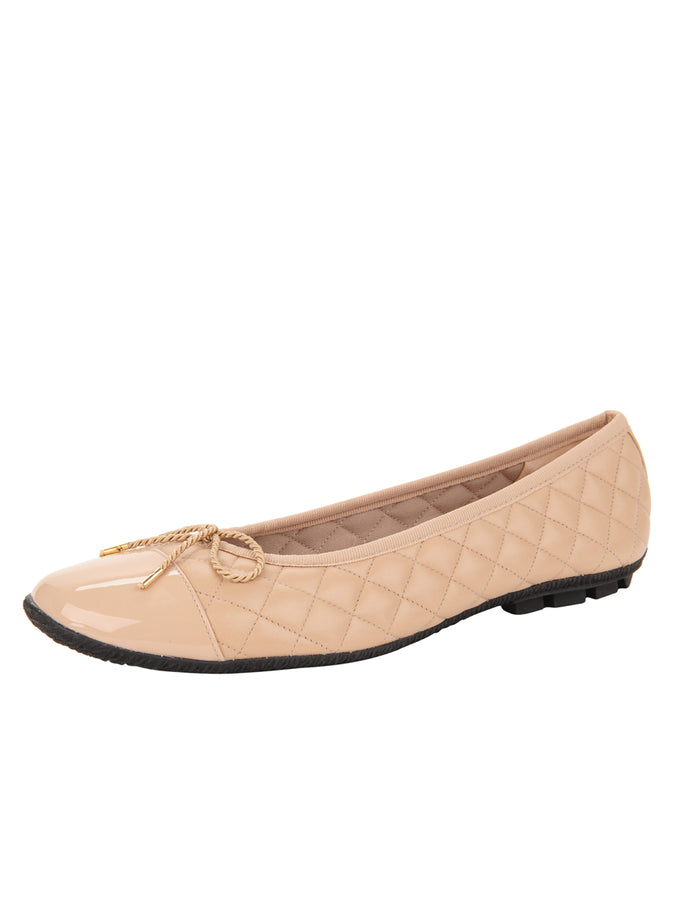 Womens Beige Cozy Quilted Leather Ballet Flat