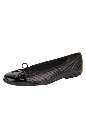 Womens Black Leather/Black Patent Crush Quilted Leather Ballet Flat