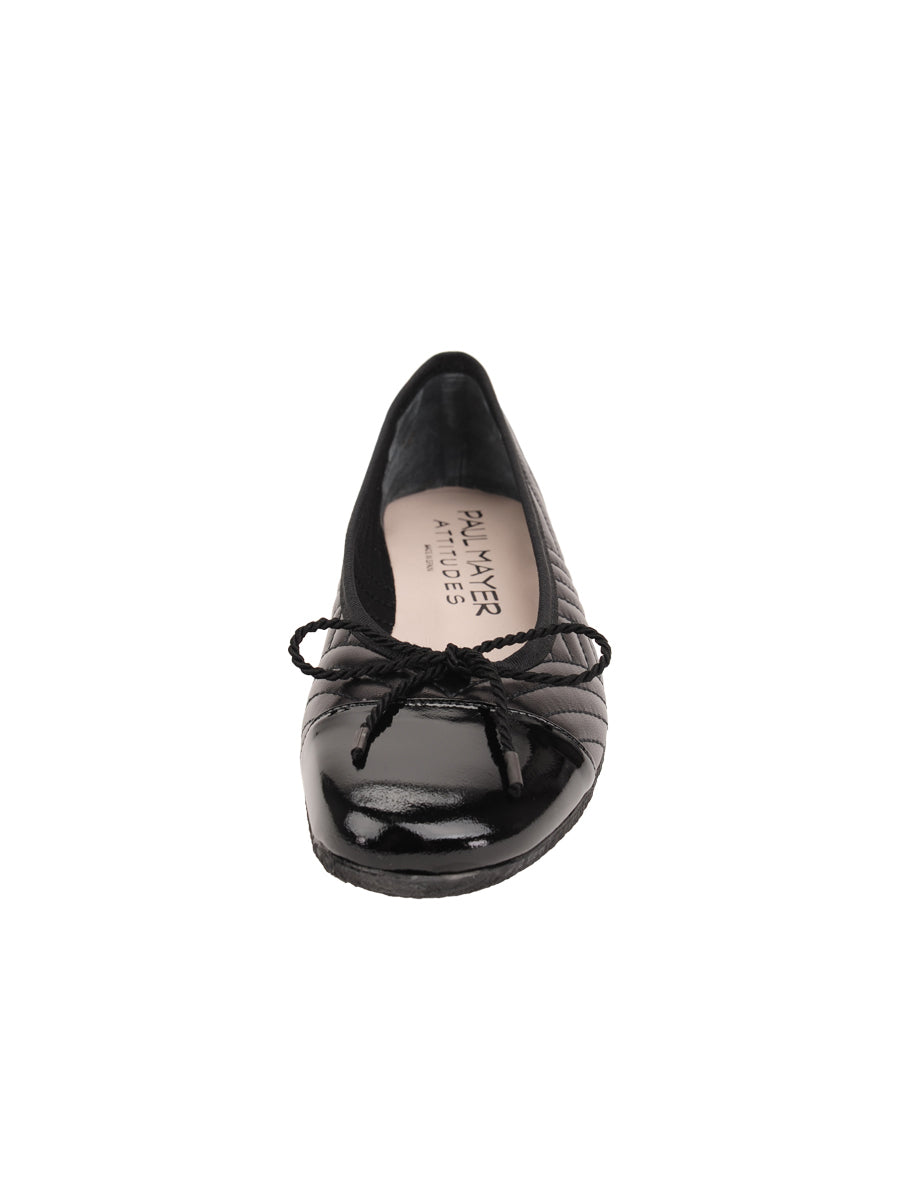 Womens Black Leather/Black Patent Crush Quilted Leather Ballet Flat 4
