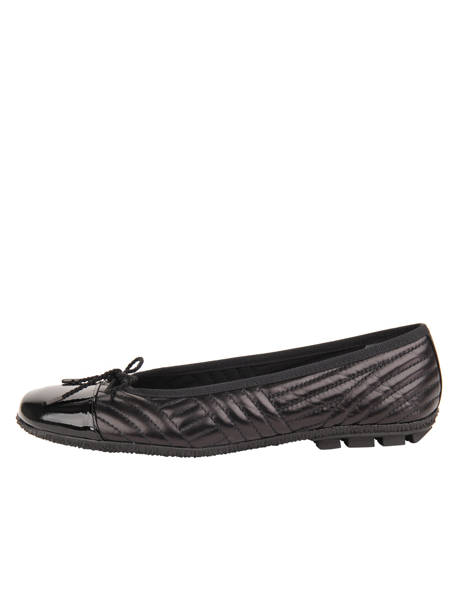 Womens Black Leather/Black Patent Crush Quilted Leather Ballet Flat 6