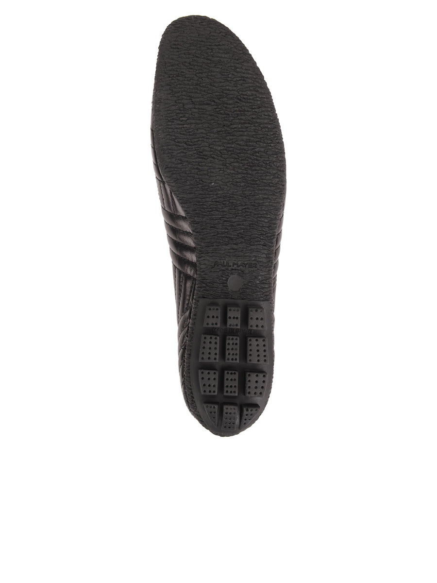 Womens Black Leather/Black Patent Crush Quilted Leather Ballet Flat 7