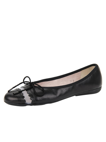 Womens Black Leather Burg Leather Ballet Flat