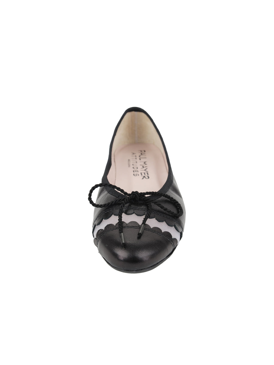 Womens Black Leather Burg Leather Ballet Flat 4