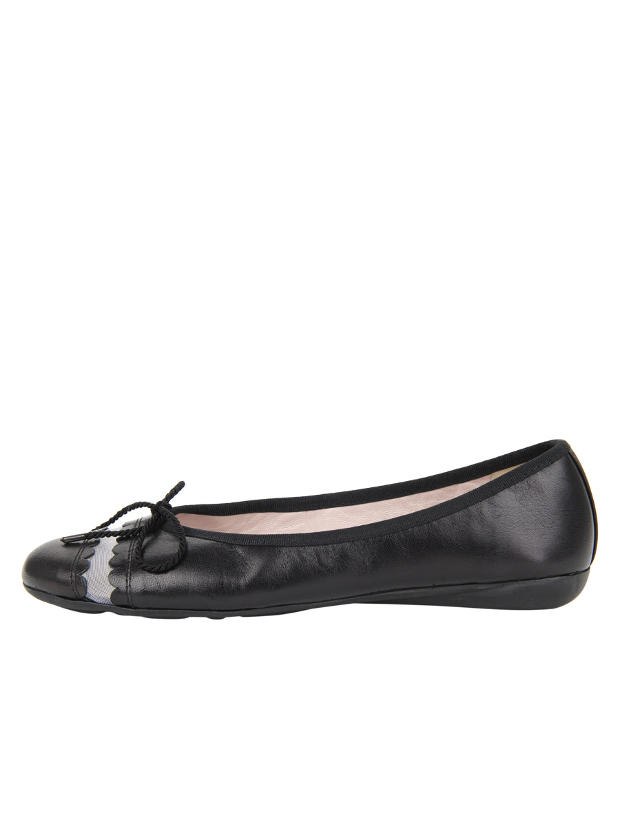 Womens Black Leather Burg Leather Ballet Flat 6