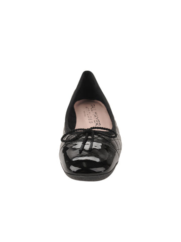 Womens Black Pat/Black Leather Galant Square Toe Ballet 4 Alternate View