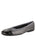 Womens Black/Pewter Crush Quilted Leather Ballet Flat