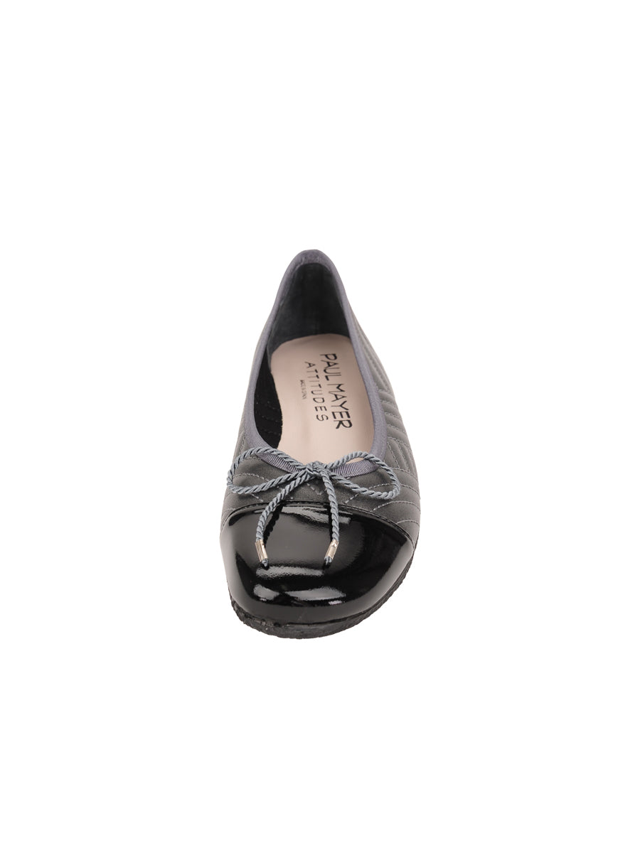 Womens Black/Pewter Crush Quilted Leather Ballet Flat 4