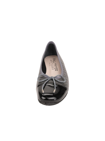 Womens Black/Pewter Crush Quilted Leather Ballet Flat 4 Alternate View