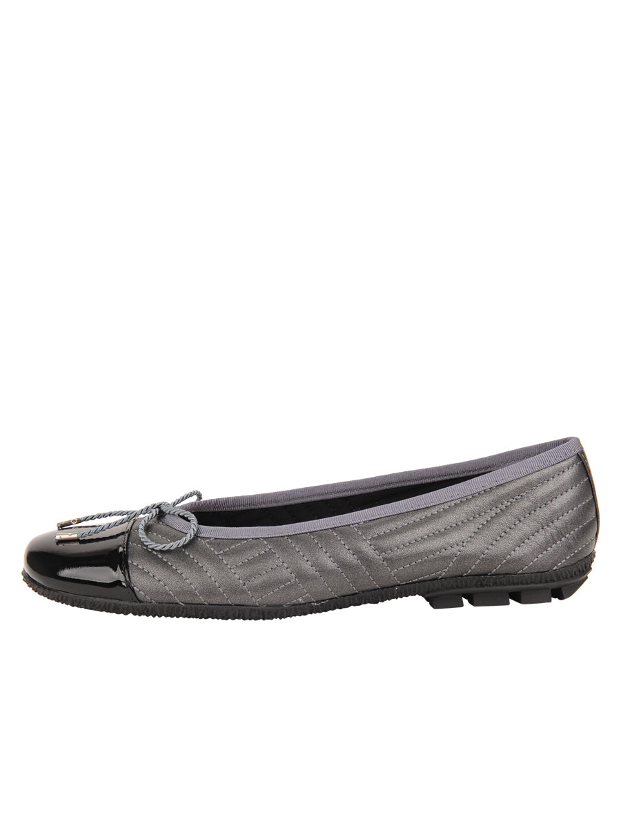Womens Black/Pewter Crush Quilted Leather Ballet Flat 6