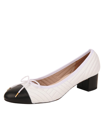 Womens Black/White Flame Block Heel