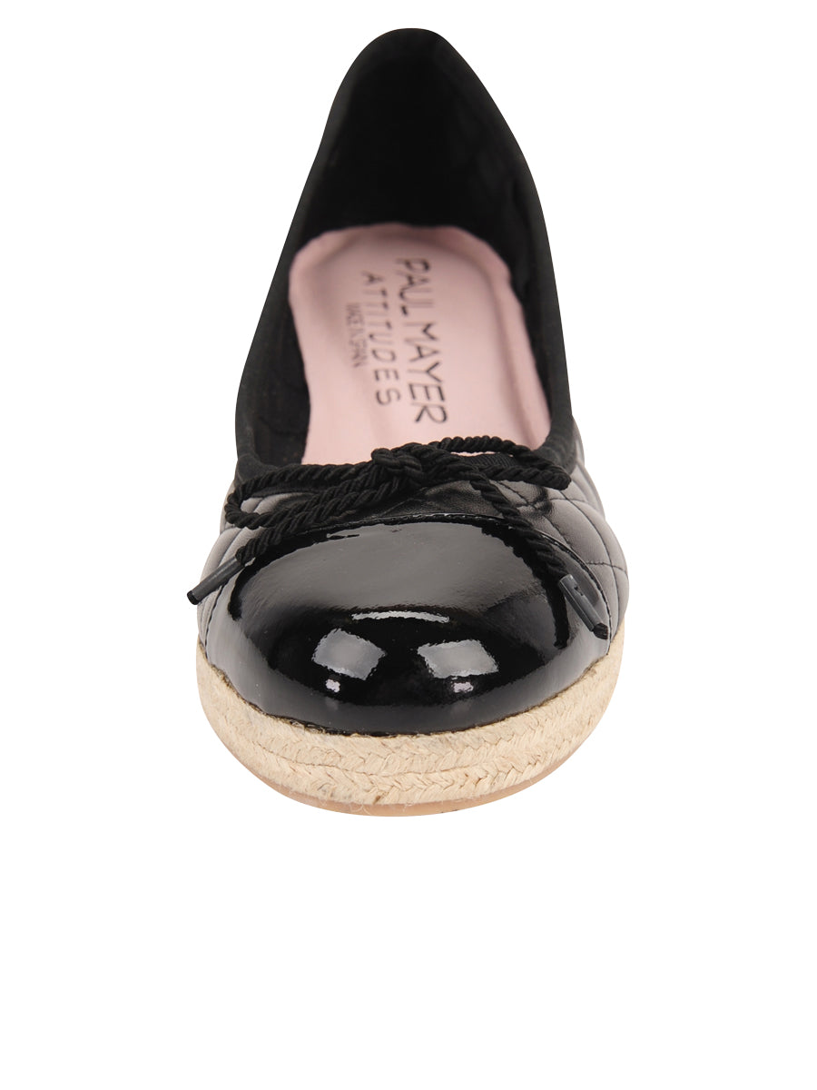 Womens Black Just Quilted Wedge Espadrille 4