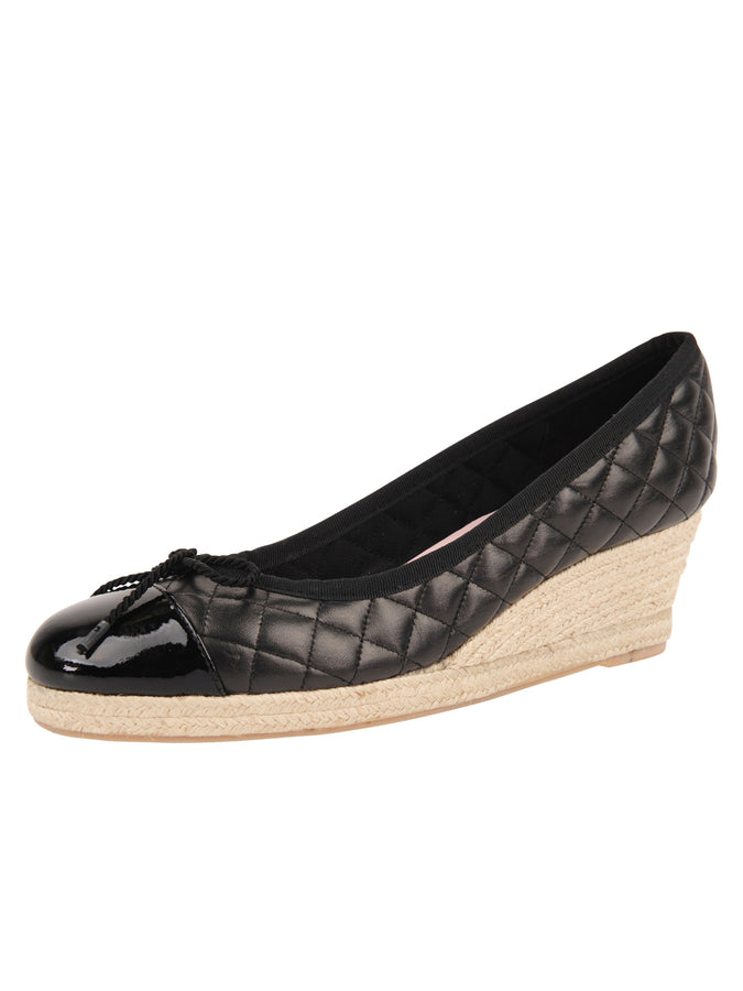 Womens Black Just Quilted Wedge Espadrille