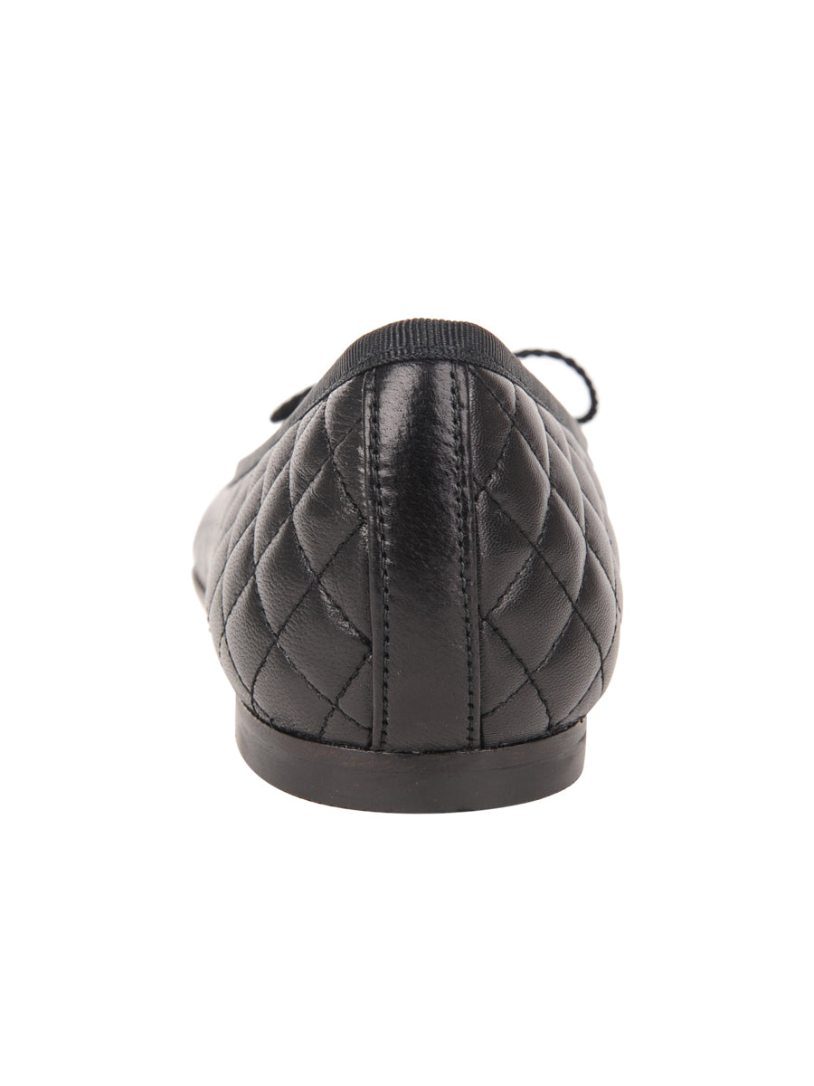 Womens Black Lido Quilted Leather Ballet Flat 2