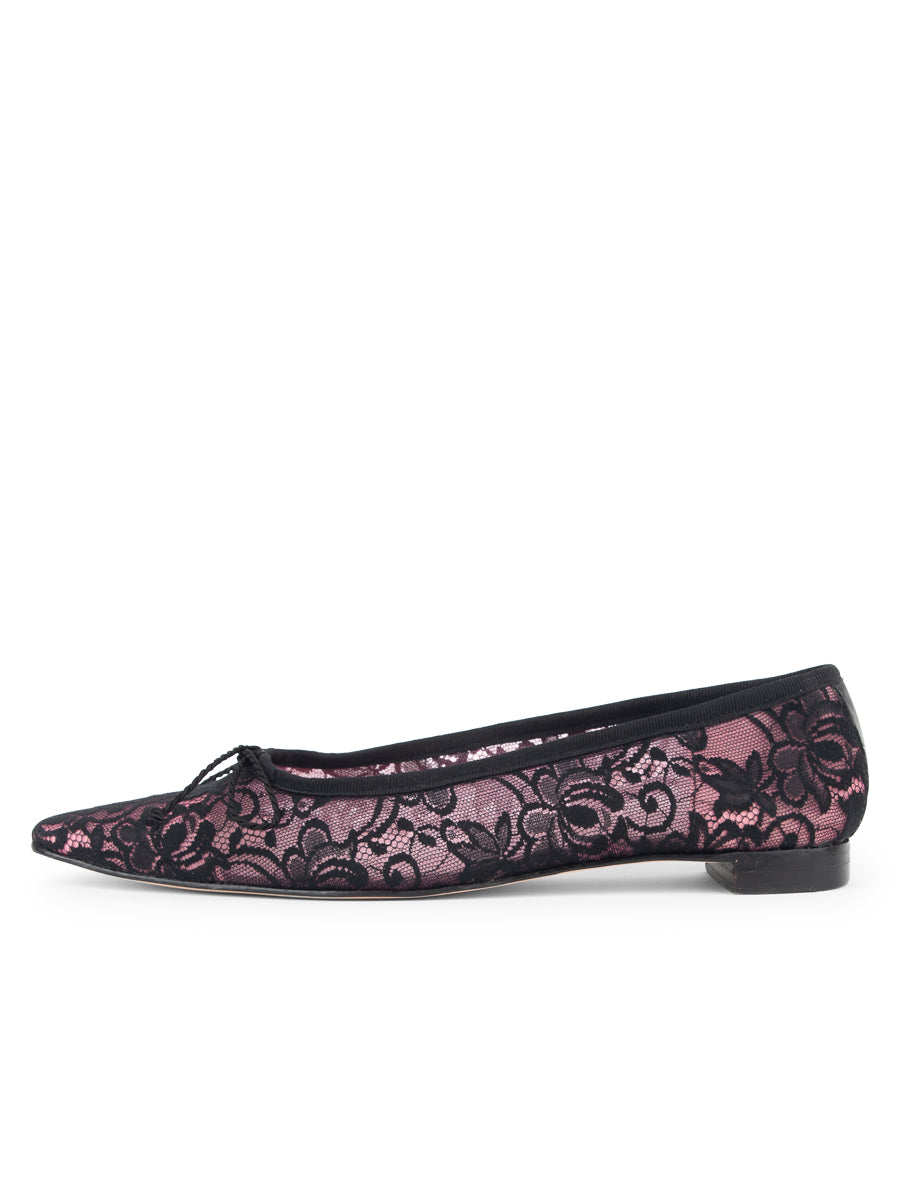 Womens Black/pink Mist Pointed Toe Ballet Flat 6