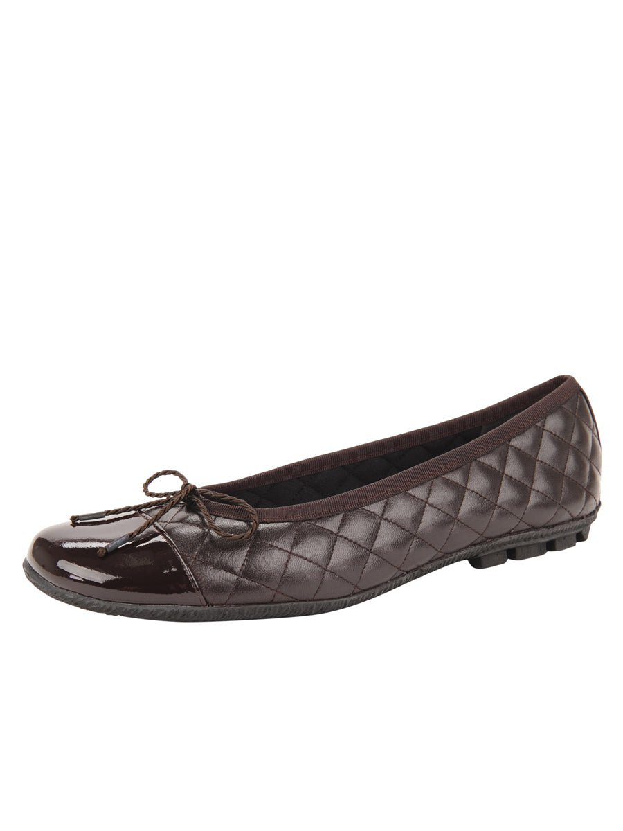 Womens Brown Cozy Quilted Leather Ballet Flat