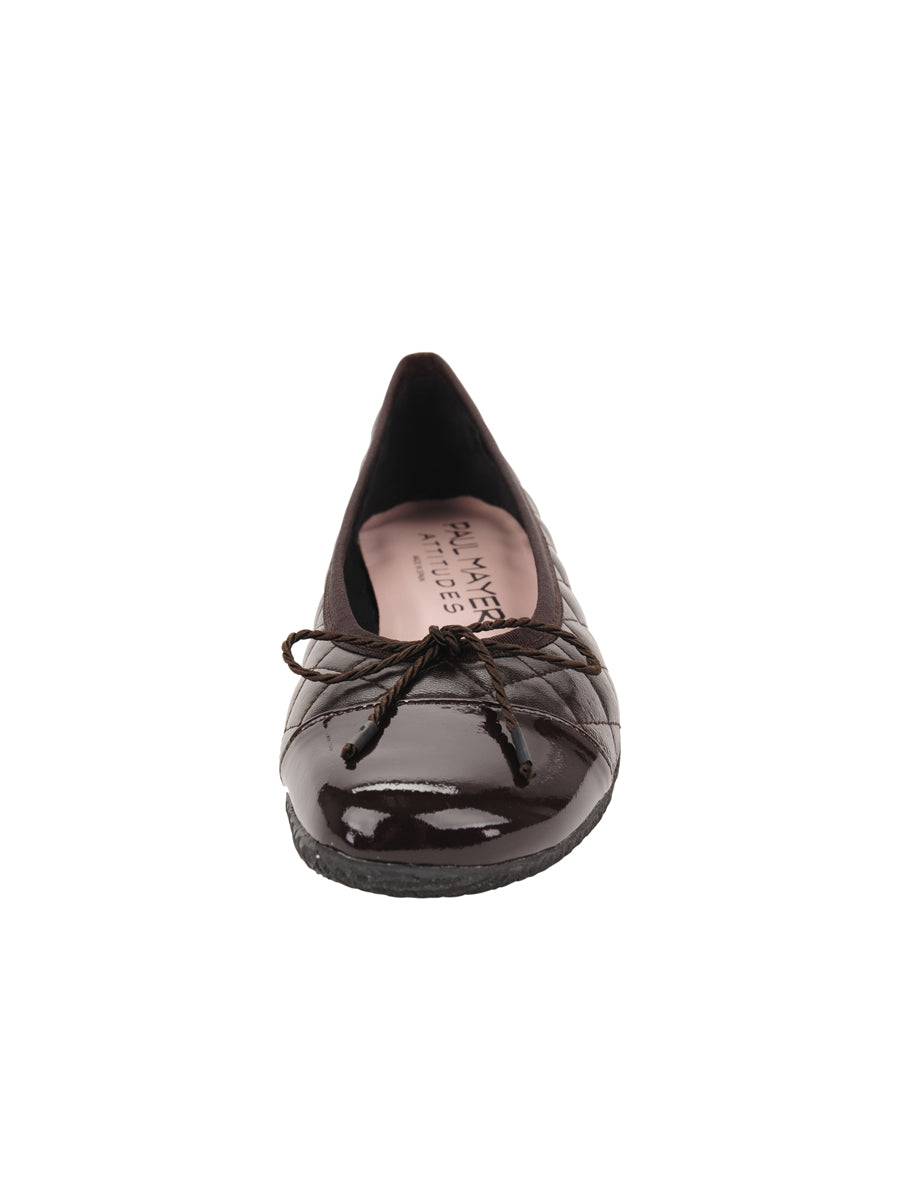 Womens Brown Cozy Quilted Leather Ballet Flat 4