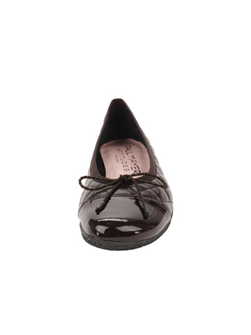 Womens Brown Cozy Quilted Leather Ballet Flat 4 Alternate View