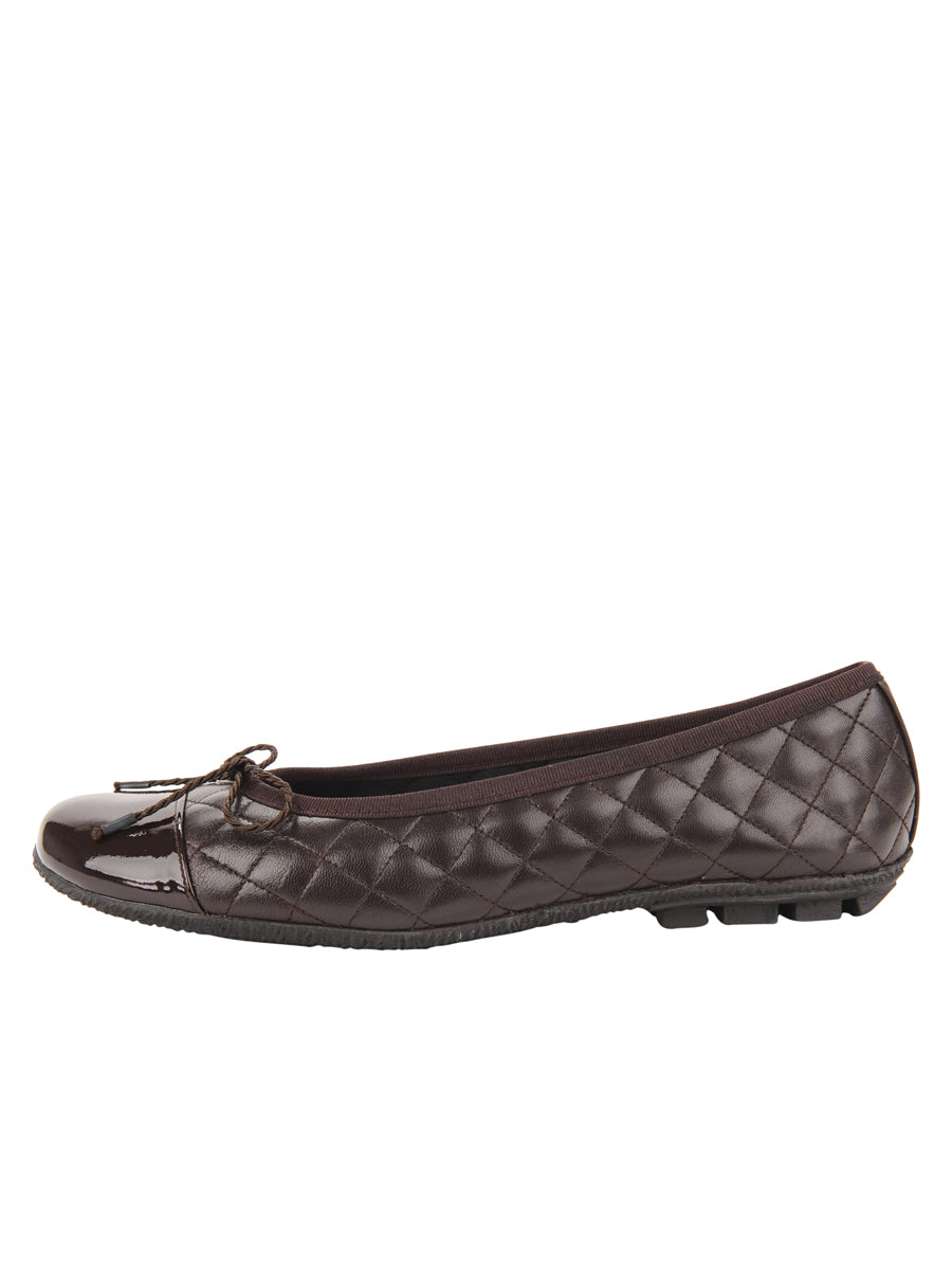 Womens Brown Cozy Quilted Leather Ballet Flat 6