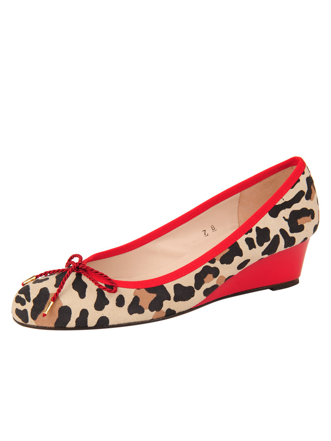 Womens Jaguar Beige Suede Noble Jaguar Print Wedge