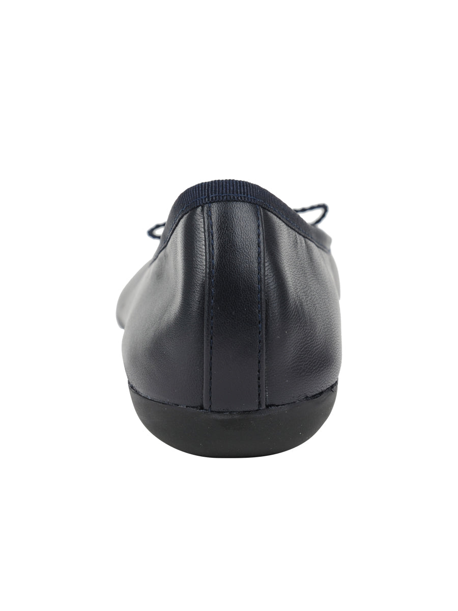 Womens Navy Leather Burg Leather Ballet Flat 2
