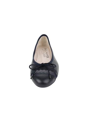 Womens Navy Leather Burg Leather Ballet Flat 4 Alternate View